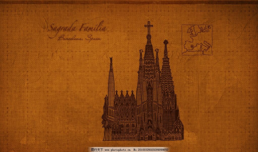 巴塞罗那教堂 铅笔画 线条 高清桌面背景 背景底纹 底纹边框 设计 100