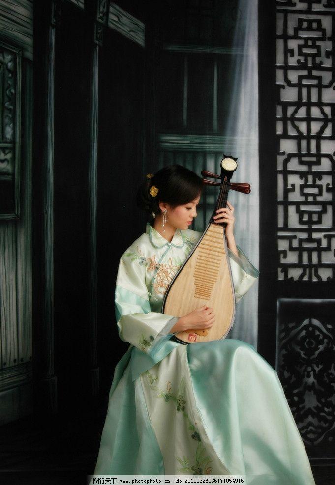 古典美女   古典 美女 女人 琵琶 弹琴 江南 地产 人物 典雅 气质