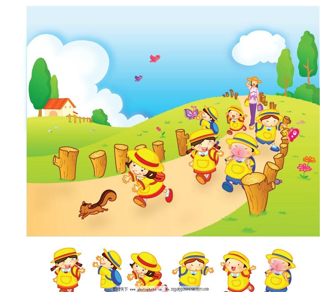 成群 绿草地 卡通 幼儿 幼儿园 背书包 小鸟 欢快 儿童幼儿 矢量人物