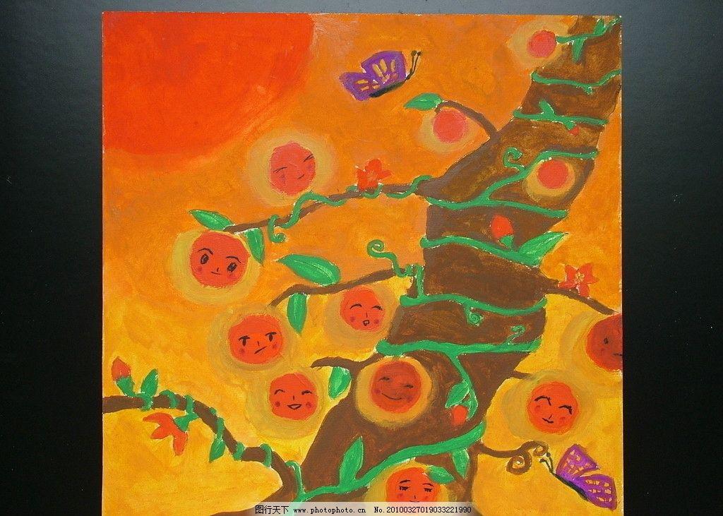 儿童绘画作品 太阳树