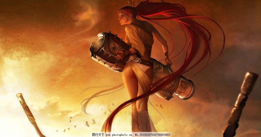战争美女 战争 美女 长发 大炮 天空 背影 psd 人物 psd分层素材 源