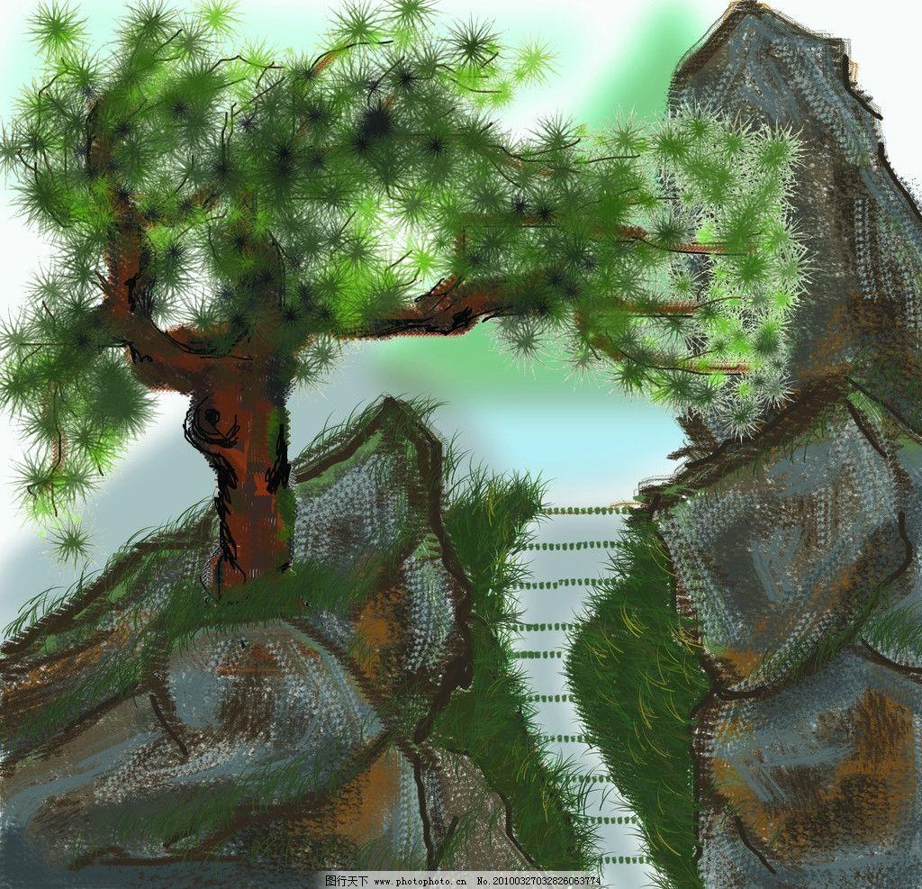 树木 山水画 风景 山树 绿色 水彩 psd分层素材 原创 鼠标绘 画笔工具