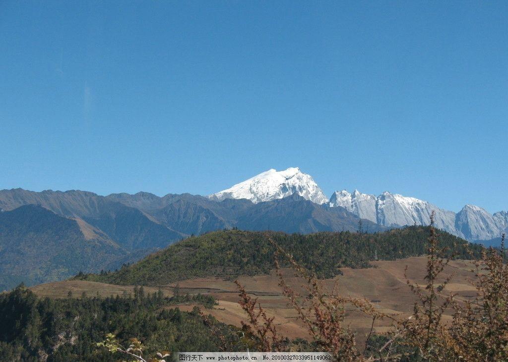 丽江 丽江风景 丽江旅游 自然风光 耕地 树木 蓝天 草地 高山 雪山