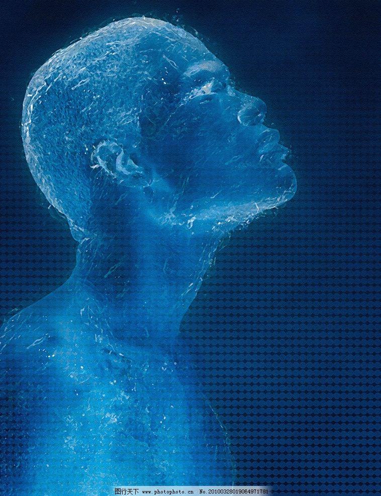 绘画科技人 油画 蓝色 男人 人物 光线 发光 科技感 时尚 设计广告