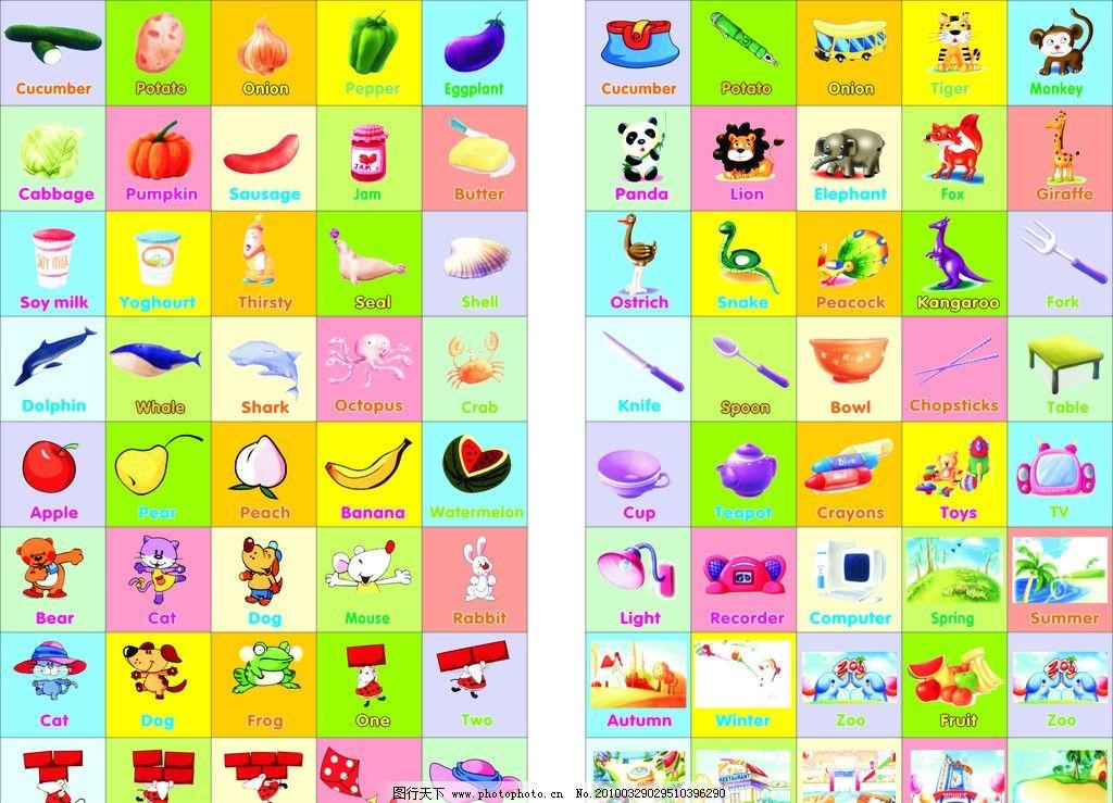 卡通墙纸 卡通水果 卡通食物 卡通动物 刀叉 桌子 台灯 英文 方块颜色
