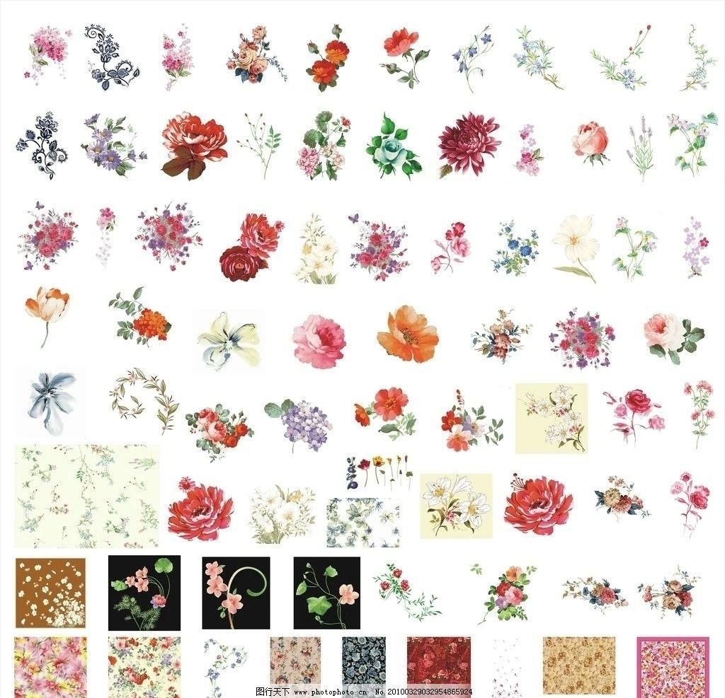 百花大全图片,鲜花 小黄花 底纹 粉 花纹 玫瑰花-图行