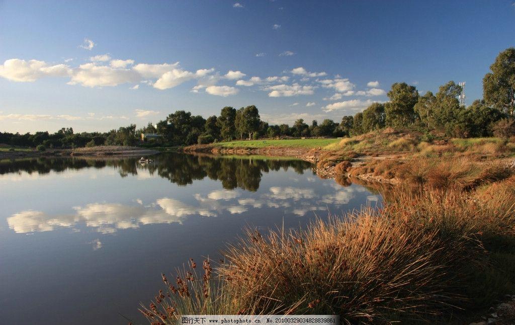 水岸 蓝天碧水 河岸 树林 白云 自然风景 自然景观 摄影 72dpi jpg