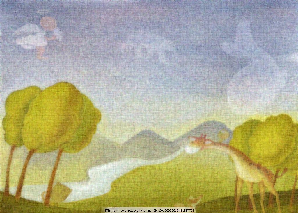 漫画 长颈鹿 松鼠 山坡 树 天空 风景漫画 动漫动画 设计 37dpi jpg