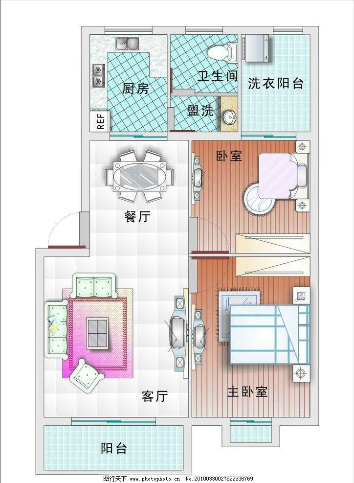 室内设计平面图 沙发 床 电视 房屋结构 地面 室内设计 建筑家居 矢量