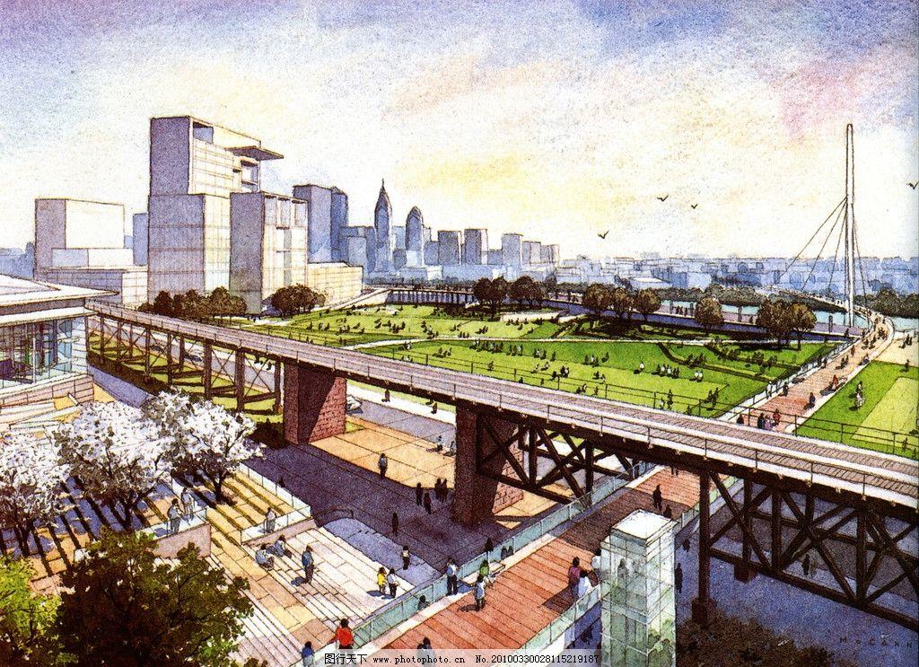 景观设计手绘效果图 城市鸟瞰 树木 彩色铅笔