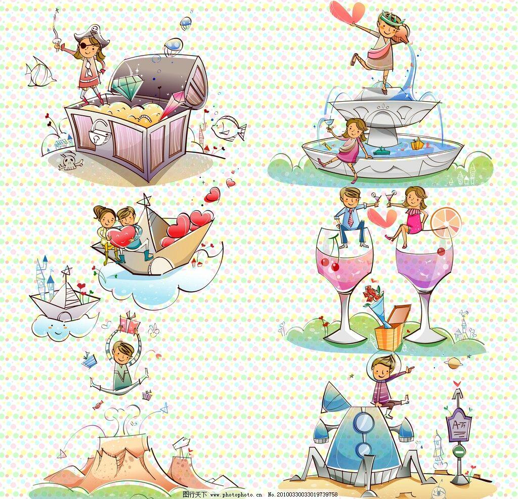 其他  卡通线条可爱插画 卡通 线条 可爱 手绘 人物 情侣 插画 喝酒
