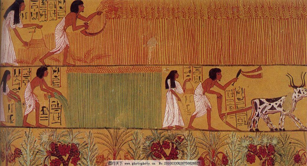 埃及 壁画 人物 古墓 法老 传统 墙壁 石壁 古代壁画 美术绘画 文化