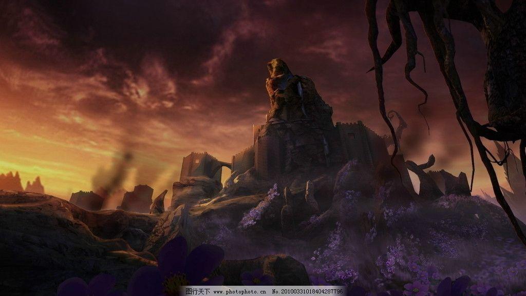 黄昏 紫色花 山峰 卡通背景 空间 动漫卡通背景 动漫动画