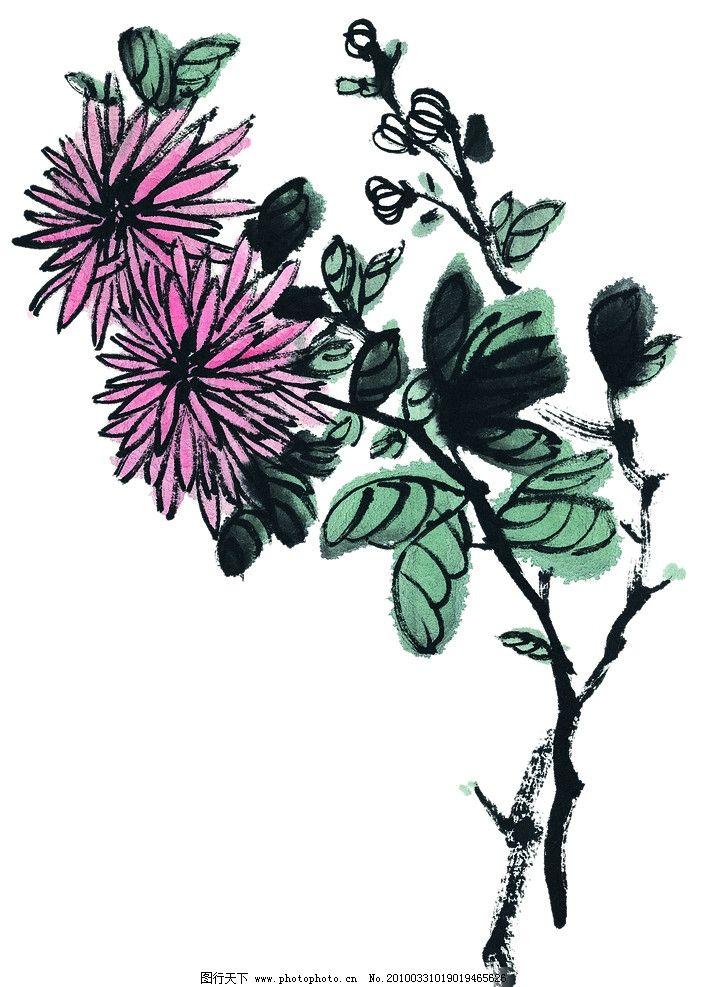 咏花 花朵 背景 中国风 水彩 艺术 花蕾 含苞待放 粉红 绿色 叶子