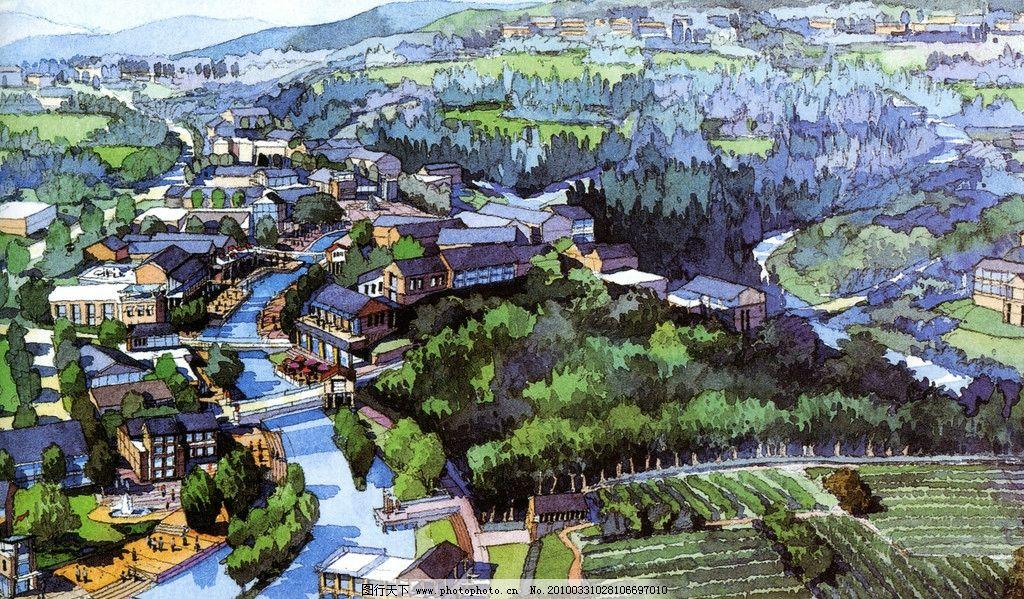 鸟瞰山地建筑手绘
