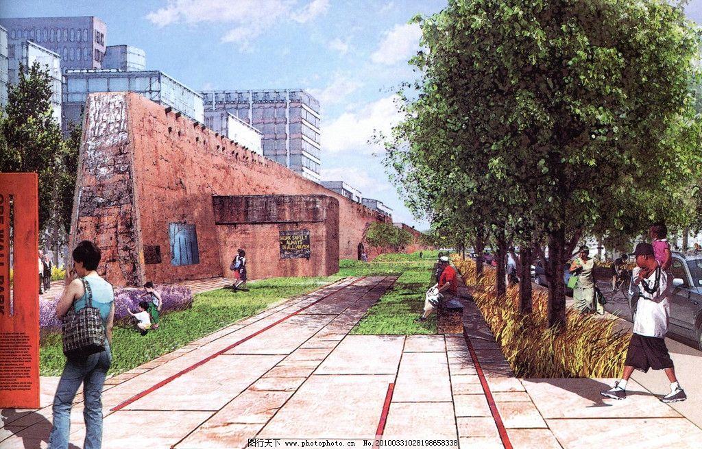 景观设计手绘效果图 景观 建筑 树木 水彩 设计 手绘        景观设计