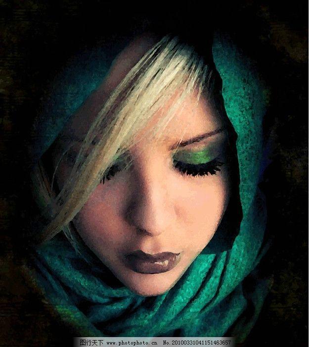绿衣女子图片